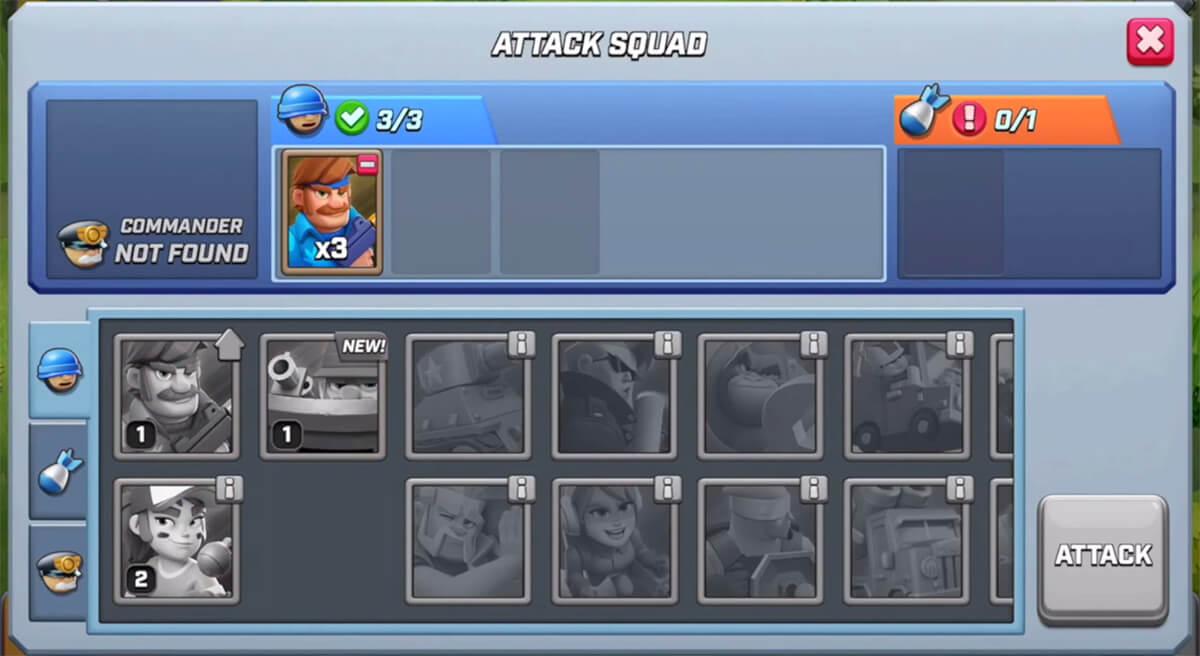 attack squad menu
