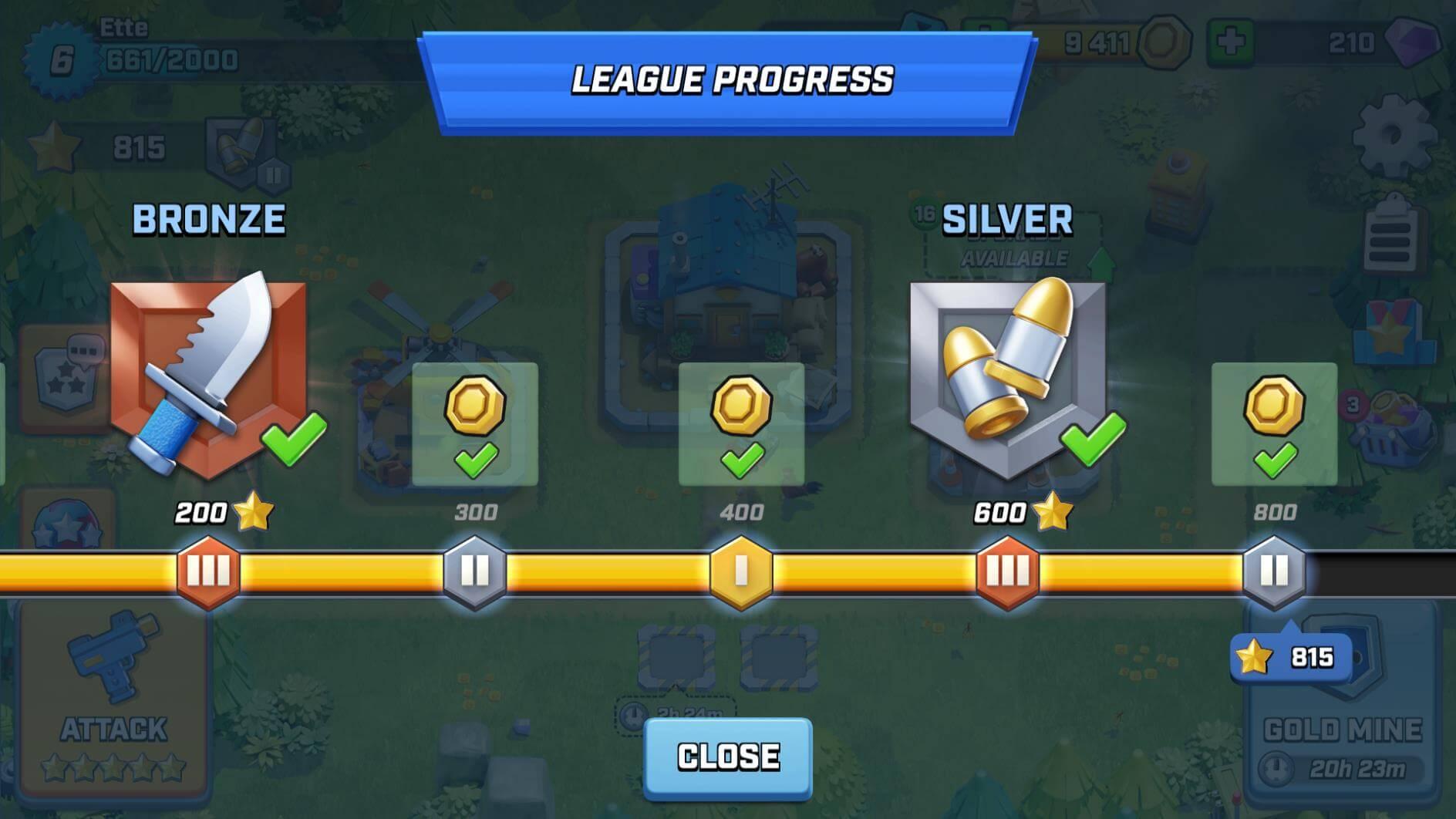 rush wars league progress