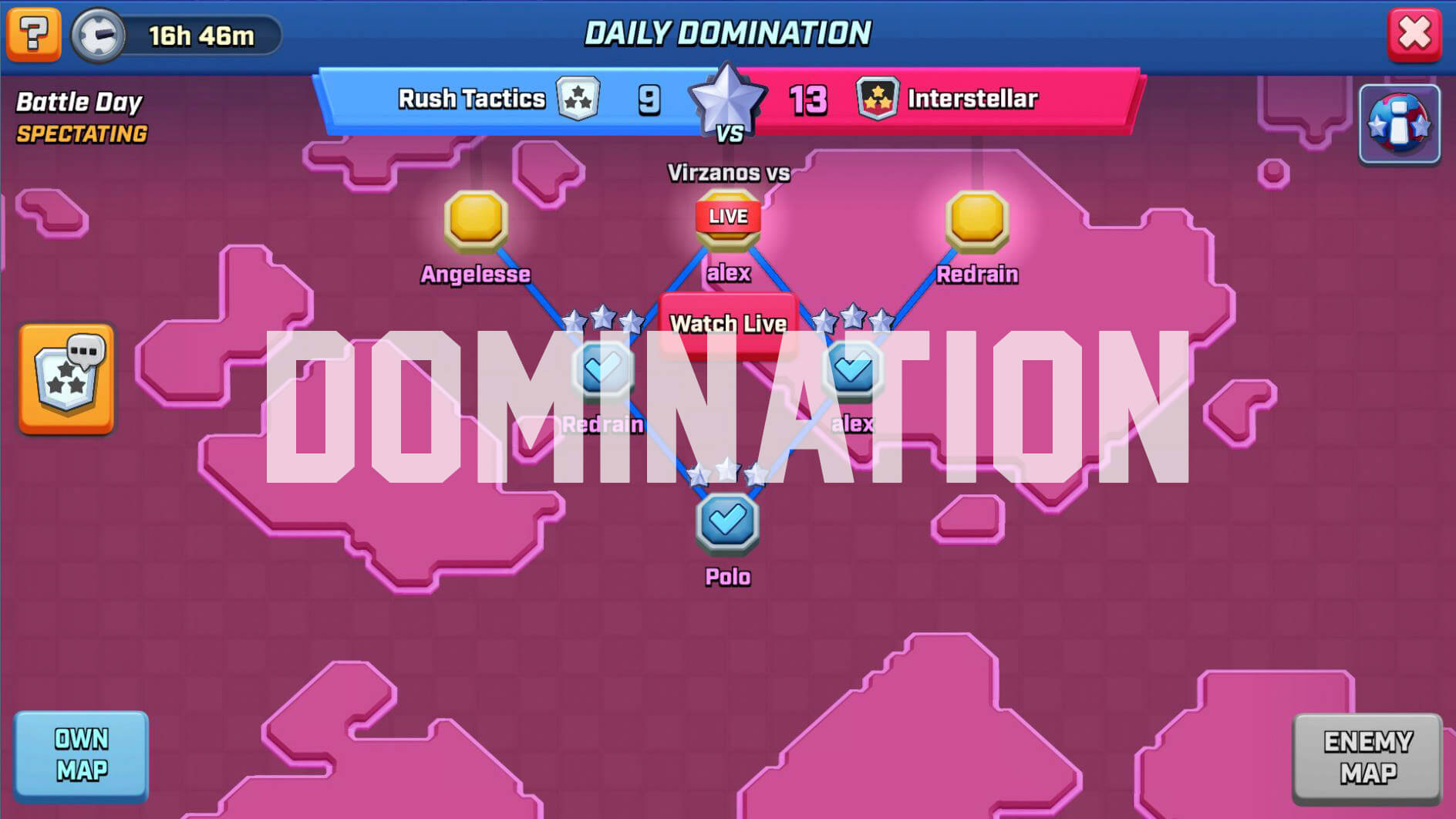 rush wars domination