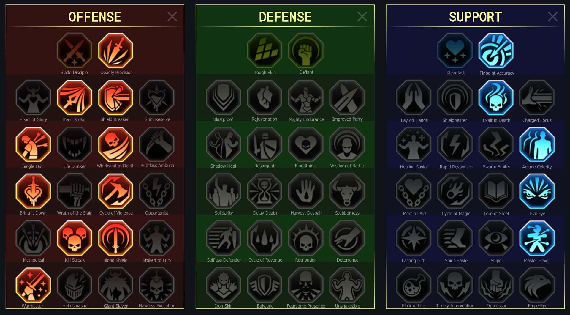 Marksman Arena Campaign Clan Boss Dungeons Faction Wars