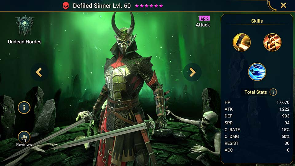 Raid Shadow Legends Defiled Sinner