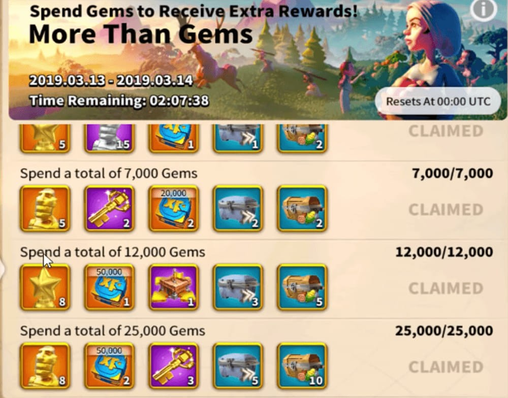 more than gems event is the best place for spending Gems in Rise of Kingdoms