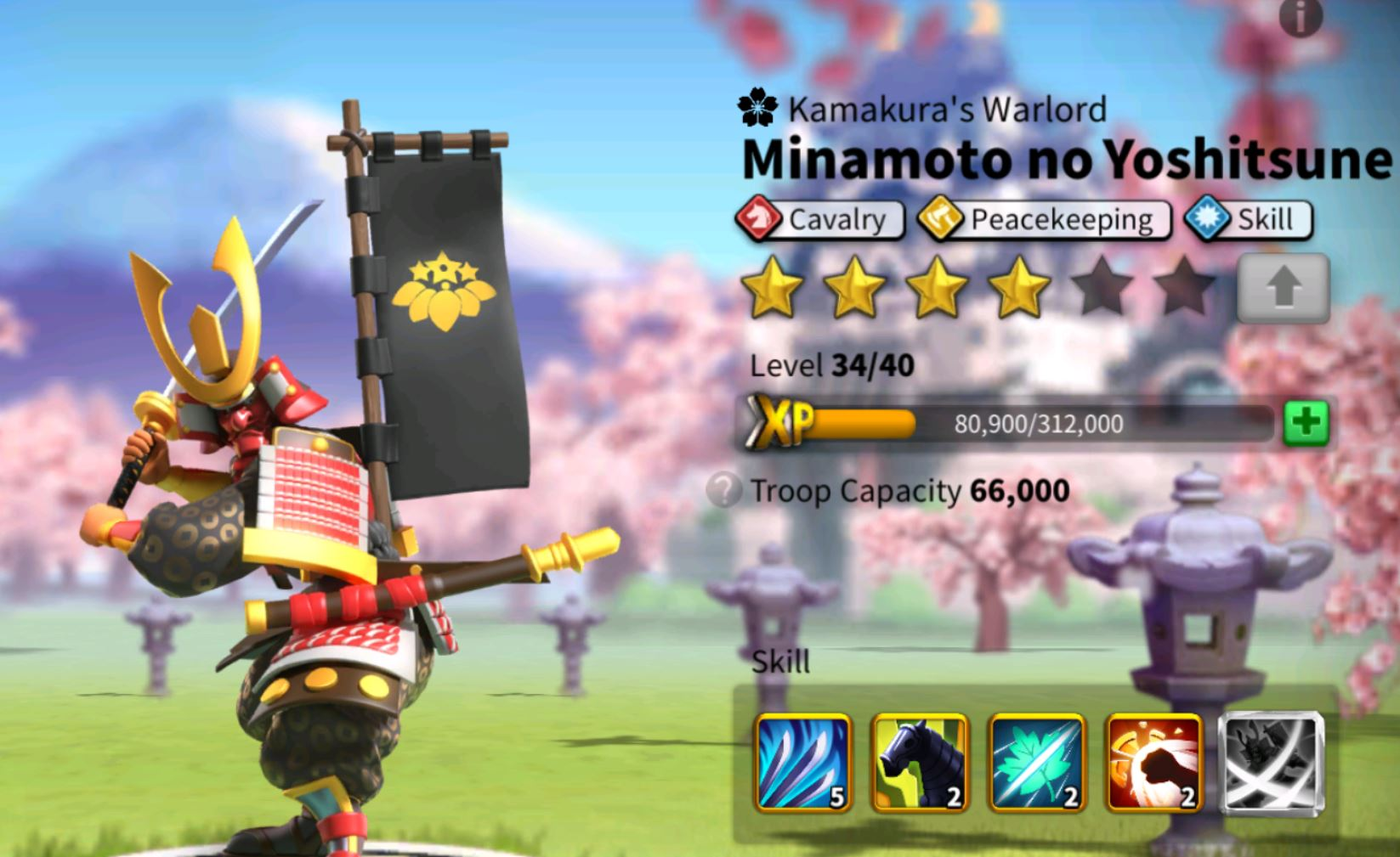 Minamoto and his skills in Rise of Kingdoms