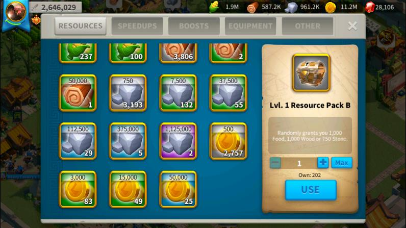 resource items Rise of Kingdoms