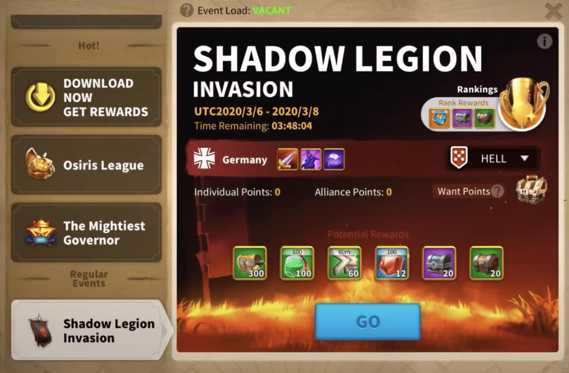 shadow legion invasion event