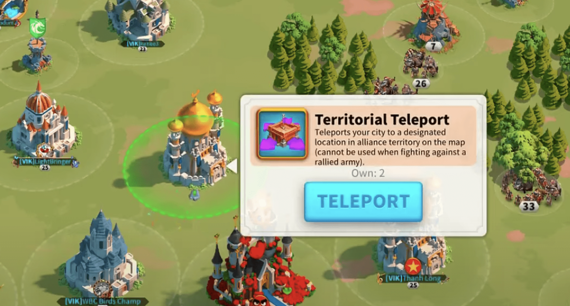 teleport city Rise of Kingdoms