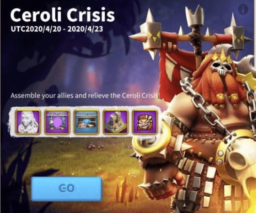 Ceroli Crisis event menu