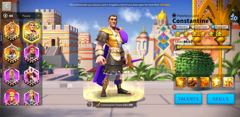 commander power Rise of Kingdoms