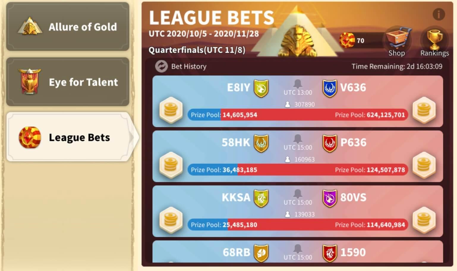 league bets